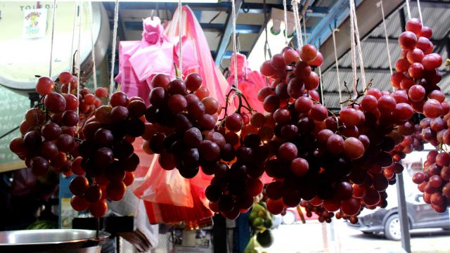 Hanging Grapes at Market