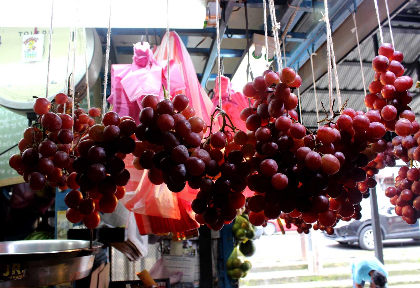 Hanging Grapes at Market